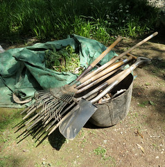 lunch time IMG_7057cr (rowchester) Tags: wales garden bag bucket weeds fork rake tool bodnant spade