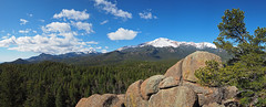 Pano: Pikes Peak and Cascade Mountain (ethanbeute) Tags: panorama forest colorado hiking pano panoramic hike snowcapped trail coloradosprings summit photomerge cascade pikespeak utepass pikenationalforest heizertrail