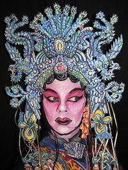 Beijing Bling. (hawhawjames) Tags: china bird art face birds painting asian james opera paint theater artist dress mask theatre body head chinese beijing makeup geisha kabuki singer oriental performer diva kuhn pheonix