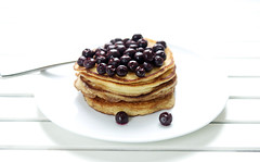 Ricotta pancakes with blueberries (what should i eat for breakfast today) Tags: morning blue food white breakfast delicious hungry pancake ricotta blueberries whiteground deliciousfood professionalfood