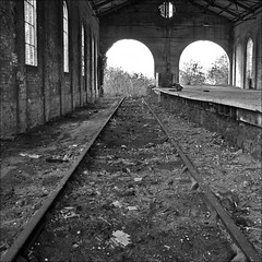 The last train has departed ..... (Petur) Tags: abandoned blackwhite track railway line derelict trainshed blackdiamond blackwhitephotos innamoramento artlegacy blackdiamondpremier