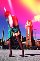 Teresa's Stockings & Light Leaks 2 (neohypofilms) Tags: blue light wild sky woman abstract color building cute sexy slr tower film stockings girl strange fashion socks lady female 35mm vintage pose lens landscape fun photography 50mm weird crazy model nikon funny experimental raw colours dress sweet candid cleveland vanity experiment posing style slide fair gritty retro bleu burning thigh vogue burn gal flare 70s heels series casual concept 1970s conceptual fx leak effect e6 fm2 esquire 2012 nylons peeptoe emulsion fogging 22012 neohypofilms
