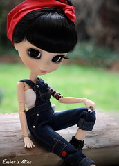 Rockabilly chick (pure_embers) Tags: uk rose tattoo dark doll dolls break eyelashes tea gothic chick mina rockabilly modified pullip dungarees pure mechanic pinup embers spanner obitsu ddalgi