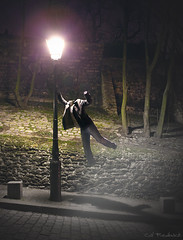 My Fairy Tale (Cal Redback) Tags: selfportrait paris france night photoshop canon photography weird fly flying funny autoportrait creative manipulation montmartre creation gravity cal montage expressive 5d disturbing concept nuit lampadaire fineartphotography redback voler lvitation explored 500px 5dmarkii calredback