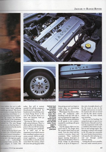 jaguar xj6 soverign x300 range rover 4 0 se twin road test 1994 4