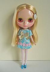 ribbon mini dress blue