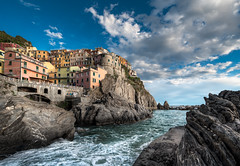 Falling Tide - (Vernazza, Cinque Terre, Italy) (blame_the_monkey) Tags: travel italy mountains water architecture italian europe italia liguria wideangle coastline cinqueterre manarola 5terre digitalblending dynamicblending