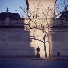(patrickjoust) Tags: street city people urban man color tree 120 6x6 tlr film argentina cemetery analog america walking square lens person reflex focus mechanical kodak buenos aires south patrick twin crosses slide mat chrome 124g recoleta medium format 100 ba manual epp expired 80 joust ektachrome e6 yashica 220 80mm f35 reversal yashinon autaut patrickjoust