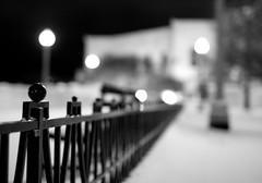 Snow Palace (Philocycler) Tags: nightphotography blackandwhite chicago fence bokeh powder sheddaquarium snowpalace chicagoist blacksky dreamorreality