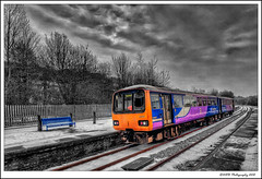 Sheffield Service. (nigelnaturist) Tags: uk winter england snow station train sheffield yorkshire tracks railway hdr pontefract selectivecolour photomatix efs1022mmf3545usm canon40d baghill nhbphotography