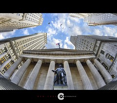 Wall Street Place (OC Photographie) Tags: street new york sky ny birds wall clouds america canon buildings washington manhattan district flag north bank fisheye ciel states nuages financial georges hdr unis immeuble unites amrique etats