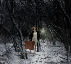 Abscond before they come (Kate Kinley) Tags: winter snow forest lost dangerous lantern scared runaway suitcase frightened brookeshaden