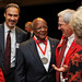Cassius Williams (center) talks with colleagues after receiving the Watauga Medal at the 2012 Founders Day Dinner.