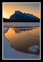 Mount Rundle & Ice Breakup (stevenbulman44) Tags: sky mountain snow ice water spring vermillion rundle