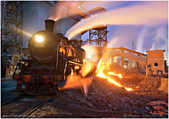 Tipping The Slag (channel packet) Tags: china railroad train slag steel railway steam works locomotive tipping davidhill beitai