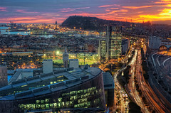 View  Vista de Barcelona (Spain), HDR (marcp_dmoz) Tags: barcelona street city sunset espaa castle station port photoshop puerto 50mm calle spain nikon sonnenuntergang view traffic map