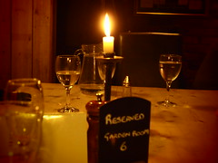 Reserved (lindscatt) Tags: comfortable bar dark private table restaurant glasses cafe candle wine reserve social gathering dim reserved cosy reservation pregamesweepwinner