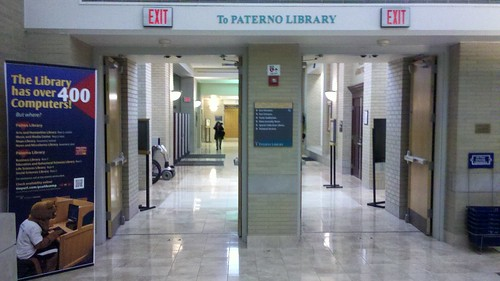 "Entrance to Paterno Library • <a style=""font-size:0.8em;"" href=""http://www.flickr.com/photos/54947059@N00/6927374065/"" target=""_blank"">View on Flickr</a>"