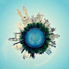Central Park Planet (SOMETHiNG MONUMENTAL) Tags: blue sky newyork water photoshop canon buildings centralpark reservoir planet g11 somethingmonumental mandycrandell