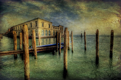Murano, Italy, an island in the Venetian Lagoon (Swissrock) Tags: blue venice wallpaper sky art texture water clouds painting nikon lagoon february murano venezia venedig hdr 2012 photshop glassfactory d700 1424mm tatot