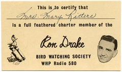 Ron Drake Bird Watching Society (Alan Mays) Tags: old men birds radio vintage cards women funny humorous pennsylvania humor feathers ducks ephemera pa binoculars heads clubs 1960s drake harrisburg drakes charter members groups disembodied wordplay puns membership ritters 580 associations societies membershipcards radiostations organizations disembodiedheads whp dauphincounty radioshows radiopersonalities rondrake birdwatchingsociety birdwatcherssociety fullfeathered maryritters