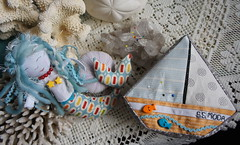 Mermaid and Boat Pincushions (Cut To Pieces) Tags: moda slice button pincushion mermaid rickrack jellyroll peasandcarrots crushedwalnutshells pezzyprint