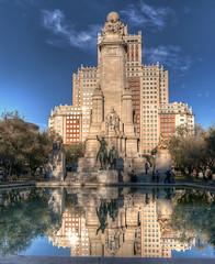 Don Quixote (Fil.ippo (AWAY)) Tags: madrid plaza reflection monument monumento sigma espana piazza 1020 cervantes hdr filippo quixote spagna riflesso chisciotte d5000 flickrdiamond