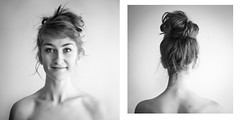 360 visage (Sarah Joann) Tags: blackandwhite bw selfportrait face hair head 365 windowlight updo 365project
