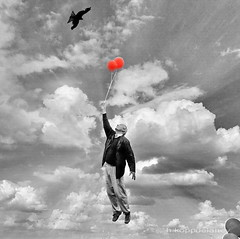 Impossible? (h.koppdelaney) Tags: life inspiration man art digital photoshop happy flying high lift view symbol balloon flight picture philosophy mind trust duality easy wisdom metaphor success takeoff psyche symbolism confidence psychology antigravity archetype conscious leichtigkeit antigravitation dualitt unmglich lightfullness koppdelaney