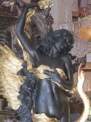 Black and Gold Angelic Figure (shaire productions) Tags: sculpture woman black art classic girl female angel gold photo wings artwork european image display artistic decorative arts style photograph figure publicart winged decor angelic figurative imagery