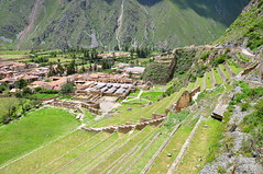 View over Ollantaytambo terraces (Oliver J Davis Photography (ollygringo)) Tags: world travel sky mountains castle history peru archaeology southamerica inca stone wall wonder ancient nikon ruins fort terrace citadel stonework cusco masonry terraces culture inka andes civilization walls agriculture imperialism archaeological fortress archeology conquest urubamba archeological 2012 andean ollantaytambo colonialism d90