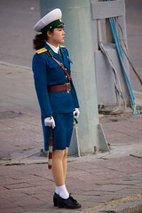 Pyongyang Traffic Girl (Joseph A Ferris III) Tags: road street blue cute sexy uniform northkorea 2012 pyongyang dprk juche trafficgirl kimilsungcelebration
