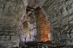 Haute masse (flallier) Tags: silhouette underground gypsum quarry carrire souterraine gypse consolidations pilierstourns premiremasse