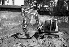 Canon Prima Zoom (Sure Shot) 76AiAF - Saturday Afternoon Excavator (Kojotisko) Tags: bw streetphotography brno creativecommons czechrepublic streetphoto rodinal fomapan100 canonprimazoom76aiaf