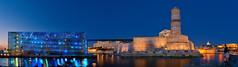 Panorama MuCEM - Fort Saint Jean (Fujjii photographie) Tags: city longexposure blue panorama beautiful marseille amazing cityscape paca business bluehour provence om nuit crepuscule vieuxport sud notredamedelagarde j4 d800 heurebleue bonnemere fortsaintjean mucem fujjii samyang14mmf28 bluehoursite fujjiiphotographie citephoceenne