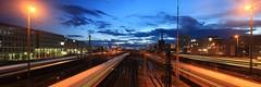 Munich Hackerbrcke Blue Hour (Christoph_Hg) Tags: blue sunset lines munich view railway trains hour hackerbrcker