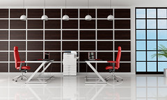 Modern Office (caprightmarketing) Tags: wood red white metal wall comfortable modern work design office pc chair floor panel desk furniture contemporary interior laptop empty room style indoor business chandelier frame vase copier modernoffice officeinterior modernofficeinterior
