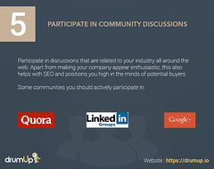 Participate in Community Discussions (Social Media & Content Curation Platform) Tags: design marketing internet content email growth hacks facebook linkedin analytics commmunity reddit twitter quora infograpic drumup drumupio