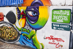Street Art - Khaosan Road (by claudine) Tags: world blue streetart silly green bird yellow architecture asian thailand interesting travels funny colorful asia paint purple bright photos bangkok vibrant unique culture tourist spray exotic nightmarket thai noodles tweety attraction whimsical customs expat khaosanroad travelphotography nightbazaar byclaudine