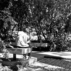 Reading completely absorbed (pedrosimoes7) Tags: street people portugal garden reading book gente lisbon candid cc creativecommons livro livre absorbed lendo gentedeportugal lisant caloustegulbenkiangarden streetpassionaward