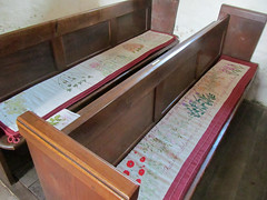Brockhampton - All Saints' Church (pefkosmad) Tags: uk england building church architecture bench embroidery seat herefordshire pew cushion anglican furnishings artsandcrafts brockhampton placeofworship allsaintschurch hallowedground churchofengland englandsthousandbestchurches