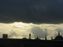 Silhouette (msganching) Tags: light sky london clouds modernism spire postofficetower