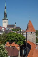 Walls of Tallinn (Maxpack81) Tags: old city blue red sky green tower church st wall architecture canon eos town tallinn estonia walls m3 kirik estland oleviste olafs olaikirche