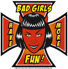 bad girls sticker (robolove3000) Tags: red girl wisconsin naughty sticker cross devil hotrod decal maltese badgirl stoughton ducksoupsigns