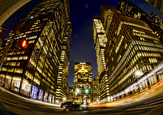 Met Life Building From Park Avenue Fisheye Motion Blur (Greg - AdventuresofaGoodMan.com) Tags: street nyc newyorkcity motion night buildings skyscrapers cityscapes motionblur parkavenue cartrails