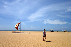 untitled (u n f o r g i v e n) Tags: sky beach girl boat sand bluesky sail negombo girlonbeach negombobeach