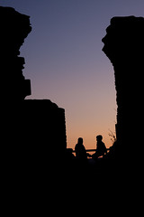 Sunset at Burrow Mump (Shaun_White) Tags: sunset silhouette somerset nationaltrust burrow peopletalking burrowmump mump