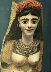 Cartonnage mask of a woman (Egypt), Roman period c.AD 100-120 (Monopthalmos) Tags: scarabbeetle cartonnagemask romanperiodfromegypt