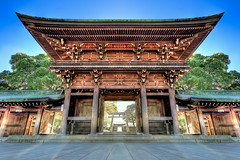Entrance to Enlightenment (Surrealize) Tags: park door wood light sun japan yard buildings court religious temple nikon gate shrine heaven glow details shibuya entrance symmetry harajuku rays yoyogi weddings shinto hdr meiji d700 surrealize