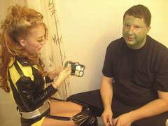 lisa doing frankenstein's makeup